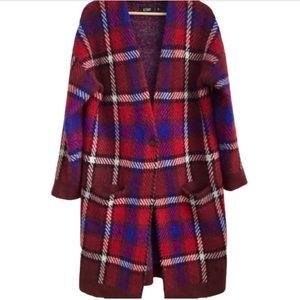 Plaid Knit Coat Red Blue Black White